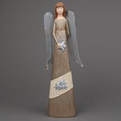Anděl béžový s kovovými křídly