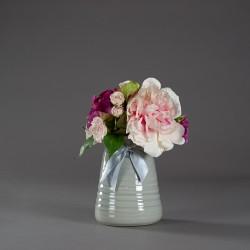 Váza keramická, šedá s mašlí