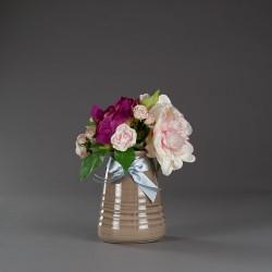 Váza keramická, hnědá s...